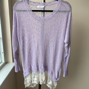 Lavender Milau light sweater with lace bottom